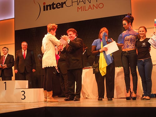 Bruno Frustaci (General Commissioner Gents Division) with Winners, amazing talent! OMC Hairworld Milano Italy 2012